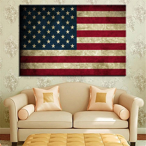 New Day Stock Store Canvas Paintings Medium / 1 Piece / No Frame Rustic American Flag Multi Piece Canvas Set