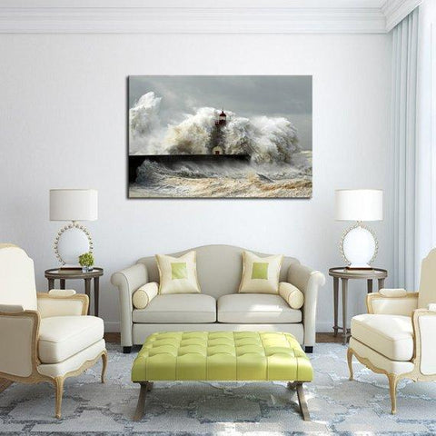 New Day Stock Store Canvas Paintings Medium / 1 Piece / No Frame Sea Wave Lighthouse Multi Panel Canvas Set