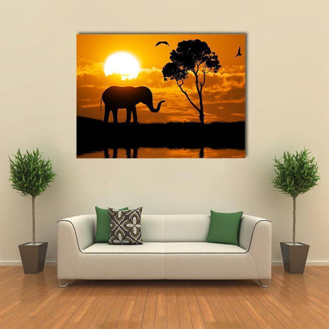 New Day Stock Store Canvas Paintings Medium / 1 Piece / No Frame Silhouette Of Elephant Multi Piece Canvas Set
