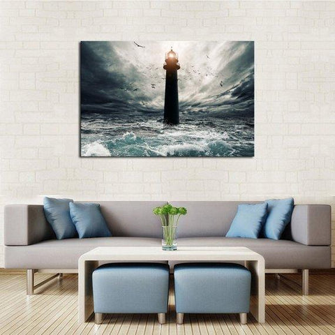 New Day Stock Store Canvas Paintings Medium / 1 Piece / No Frame Stormy Lighthouse Multi Panel Canvas Set