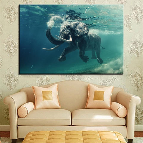 Image of New Day Stock Store Canvas Paintings Medium / 1 Piece / No Frame Swimming Elephant Multi Piece Canvas Set