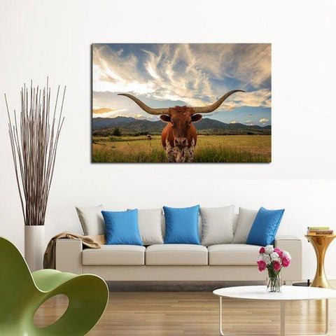 Image of New Day Stock Store Canvas Paintings Medium / 1 Piece / No Frame Texas Longhorn Cow Multi Piece Canvas Set