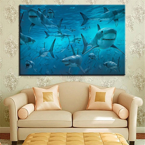 Image of New Day Stock Store Canvas Paintings Medium / 1 Piece / No Frame The Shark Multi Panel Canvas Set