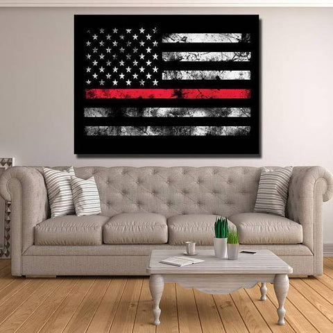 New Day Stock Store Canvas Paintings Medium / 1 Piece / No Frame Thin Red Line Flag Multi Piece Canvas Set