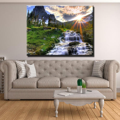 New Day Stock Store Canvas Paintings Medium / 1 Piece / No Frame Waterfall Sunset Multi Panel Canvas Set