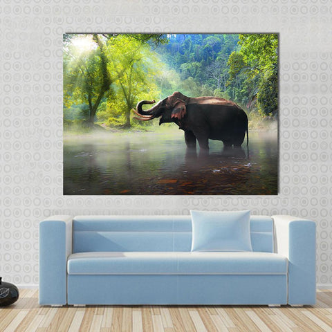 Image of New Day Stock Store Canvas Paintings Medium / 1 Piece / No Frame Wild Elephant Multi Piece Canvas Set