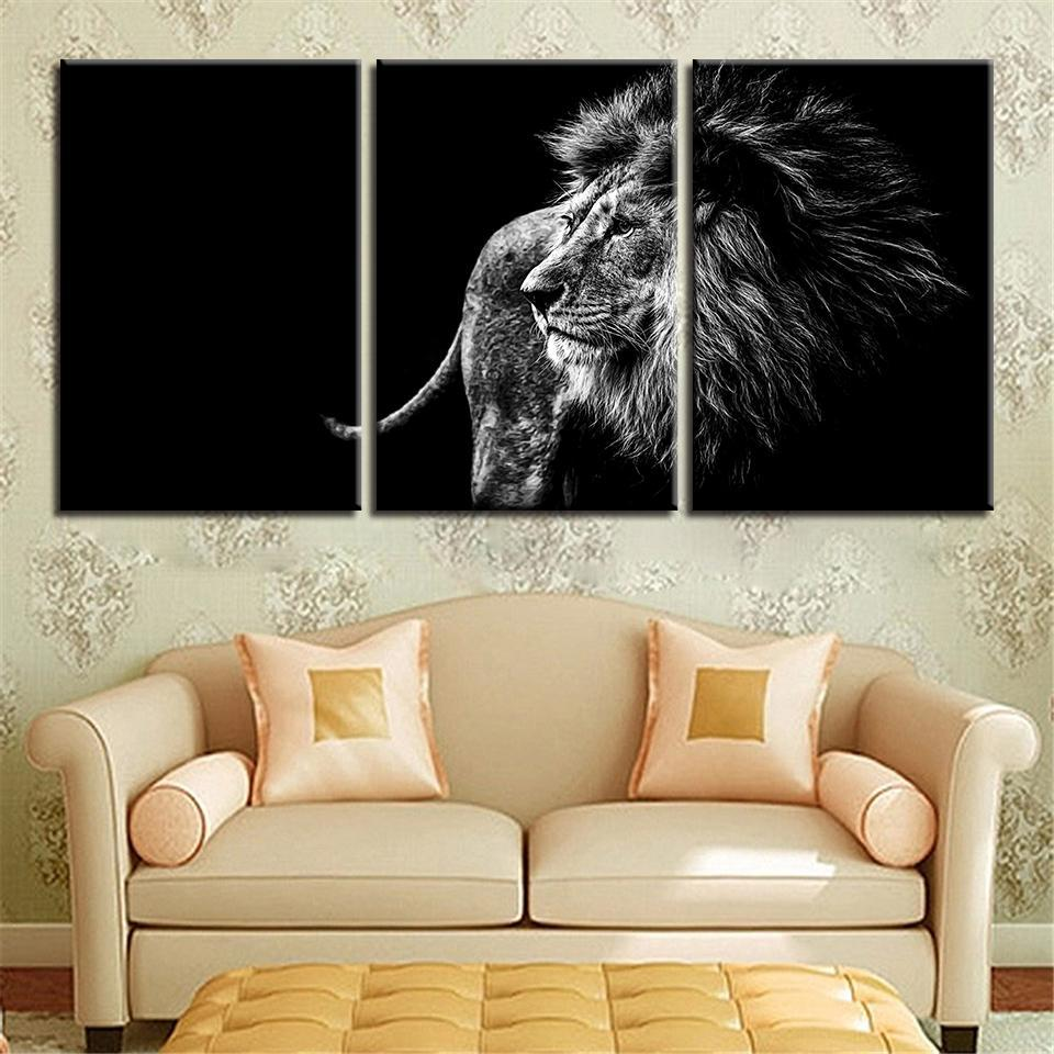 New Day Stock Store Canvas Paintings Medium / 3 Pieces / Framed Black and White Lion Multi Panel Canvas Set