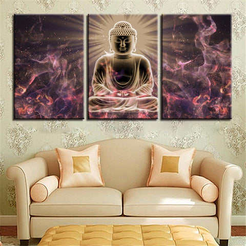 New Day Stock Store Canvas Paintings Medium / 3 Pieces / Framed Buddha Meditation Multi Panel Canvas Set