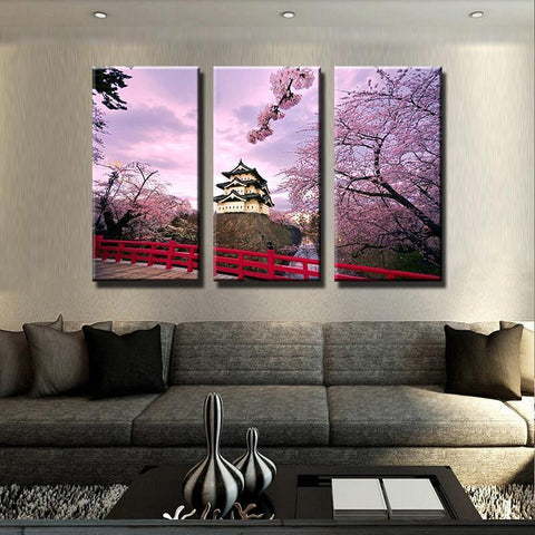 Image of New Day Stock Store Canvas Paintings Medium / 3 Pieces / Framed Cherry Blossom Japan Canvas Set