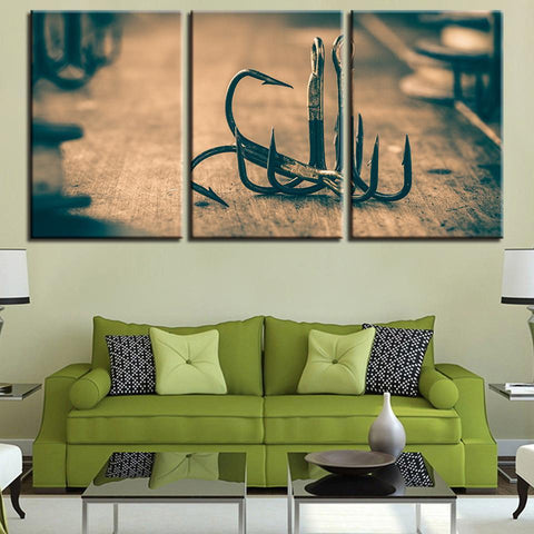 New Day Stock Store Canvas Paintings Medium / 3 Pieces / Framed Fishing Hooks Multi Panel Canvas Set