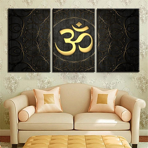 New Day Stock Store Canvas Paintings Medium / 3 Pieces / Framed Gold OM Multi Panel Canvas Set