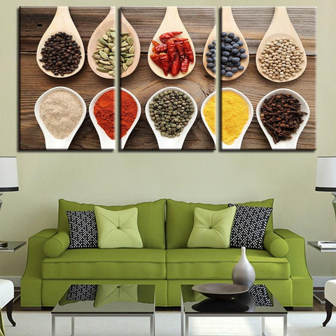 New Day Stock Store Canvas Paintings Medium / 3 Pieces / Framed Spices Multi Panel Canvas Set