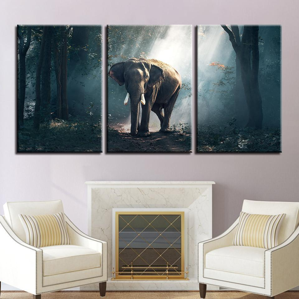 New Day Stock Store Canvas Paintings Medium / 3 Pieces / No Frame African Forest Elephant Multi Piece Canvas Set