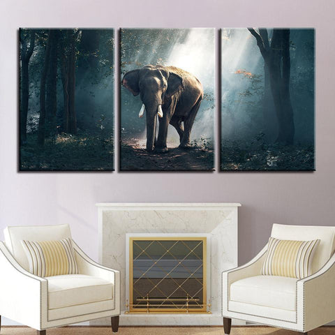 Image of New Day Stock Store Canvas Paintings Medium / 3 Pieces / No Frame African Forest Elephant Multi Piece Canvas Set