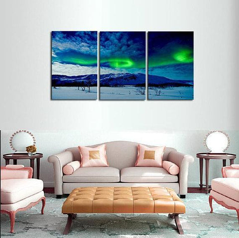 Image of New Day Stock Store Canvas Paintings Medium / 3 Pieces / No Frame Aurora Borealis Balls Multi Piece Canvas Set