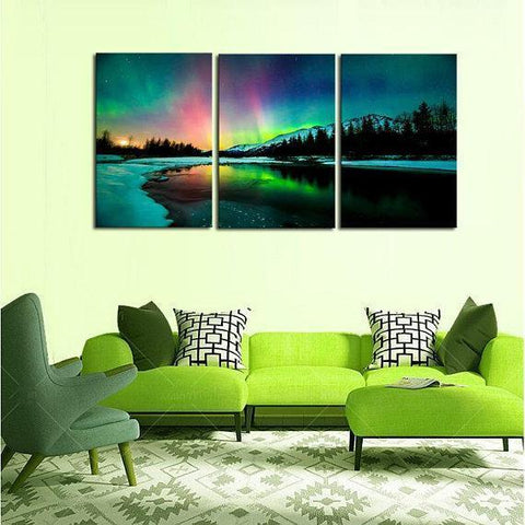 New Day Stock Store Canvas Paintings Medium / 3 Pieces / No Frame Aurora Borealis Lake Multi Piece Canvas Set