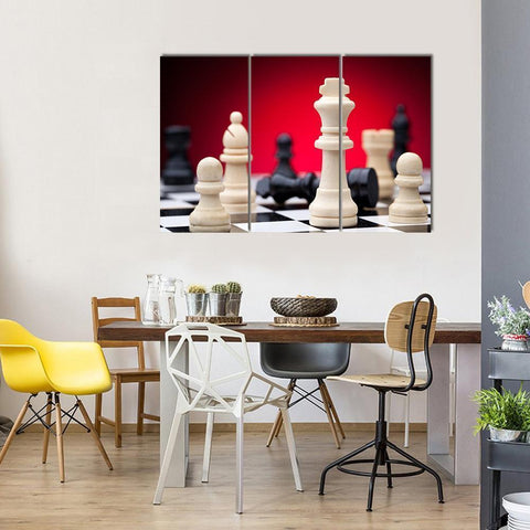 Image of New Day Stock Store Canvas Paintings Medium / 3 Pieces / No Frame Beautiful Chess Pieces Multi Panel Canvas Set