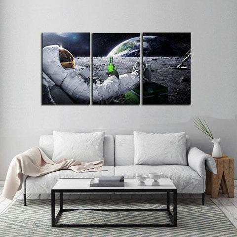 New Day Stock Store Canvas Paintings Medium / 3 Pieces / No Frame Beer Drinking Astronaut Multi Piece Canvas Set