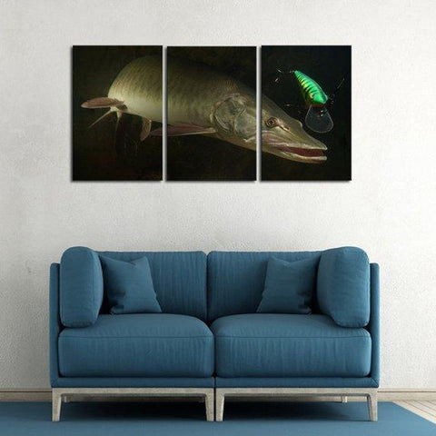 New Day Stock Store Canvas Paintings Medium / 3 Pieces / No Frame Big Muskie Fishing Multi Panel Canvas Set