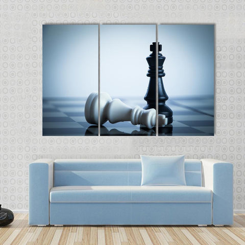New Day Stock Store Canvas Paintings Medium / 3 Pieces / No Frame Black Chess Defeats White King Multi Piece Canvas Set