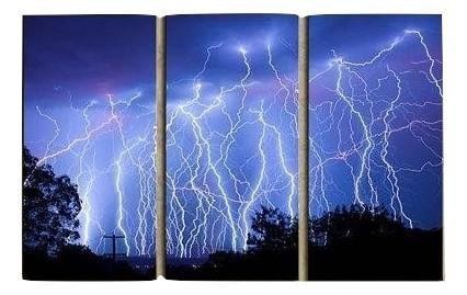 Image of New Day Stock Store Canvas Paintings Medium / 3 Pieces / No Frame Blue Lightning Multi Piece Canvas Set