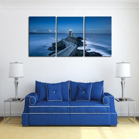 New Day Stock Store Canvas Paintings Medium / 3 Pieces / No Frame Blue Sea Lighthouse Multi Panel Canvas Set