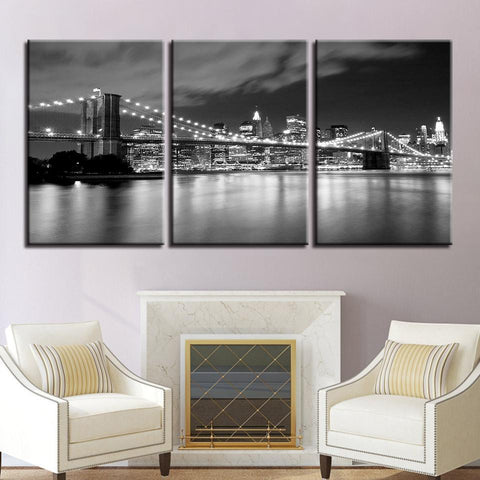 Image of New Day Stock Store Canvas Paintings Medium / 3 Pieces / No Frame Brooklyn Bridge At Night Multi Piece Canvas Set