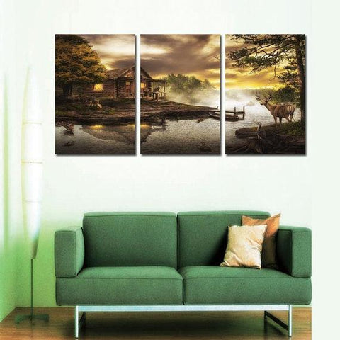 New Day Stock Store Canvas Paintings Medium / 3 Pieces / No Frame Cabin By the Lake Multi Piece Canvas Set