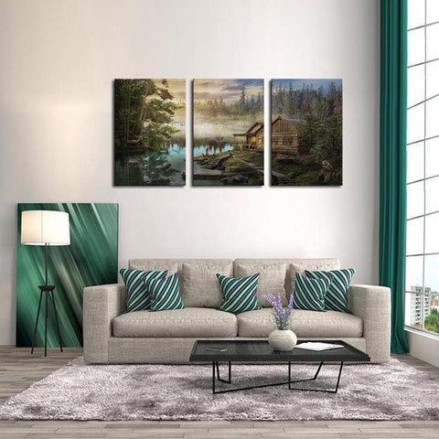 New Day Stock Store Canvas Paintings Medium / 3 Pieces / No Frame Cabin On the Lake Multi Piece Canvas Set