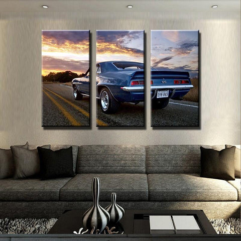 Image of New Day Stock Store Canvas Paintings Medium / 3 Pieces / No Frame Camaro SS Car Sunset Multi Panel Canvas Set
