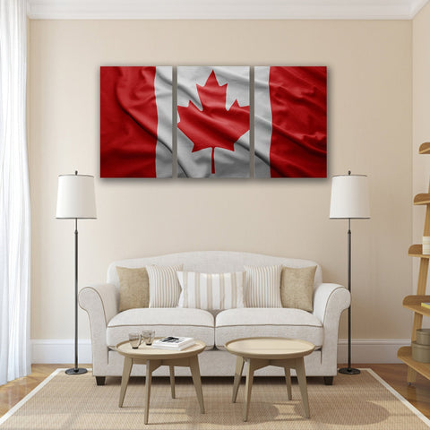Image of New Day Stock Store Canvas Paintings Medium / 3 Pieces / No Frame Canadian Flag Multi Panel Canvas Set