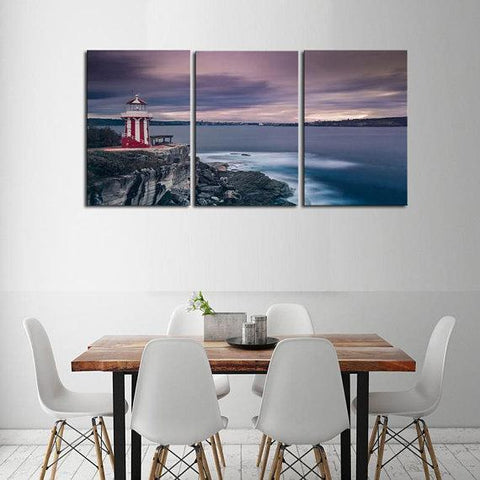 New Day Stock Store Canvas Paintings Medium / 3 Pieces / No Frame Candy Stripe Lighthouse Multi Panel Canvas Set
