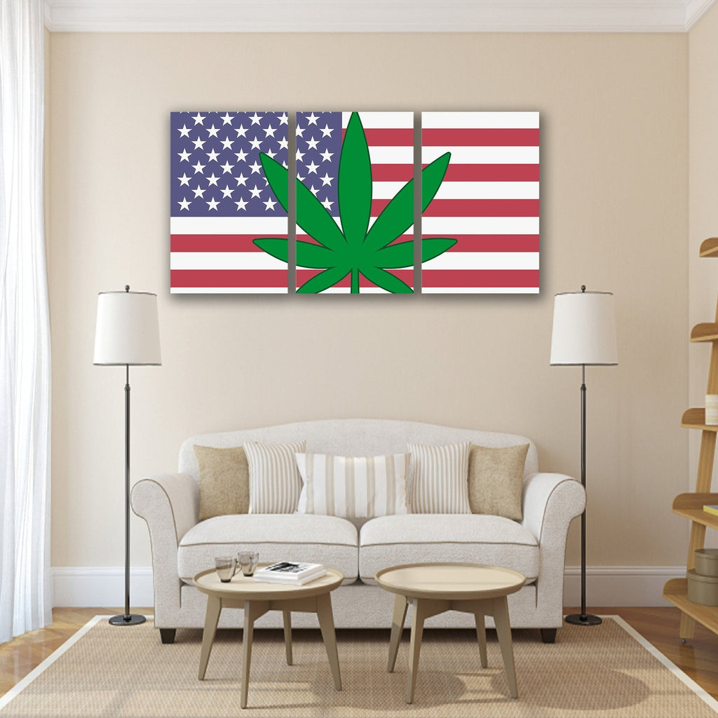 New Day Stock Store Canvas Paintings Medium / 3 Pieces / No Frame Cannabis Murica Multi Panel Canvas Set
