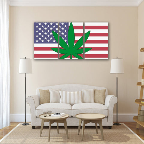 Image of New Day Stock Store Canvas Paintings Medium / 3 Pieces / No Frame Cannabis Murica Multi Panel Canvas Set