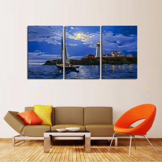 New Day Stock Store Canvas Paintings Medium / 3 Pieces / No Frame Clear Sailing Lighthouse Multi Panel Canvas Set