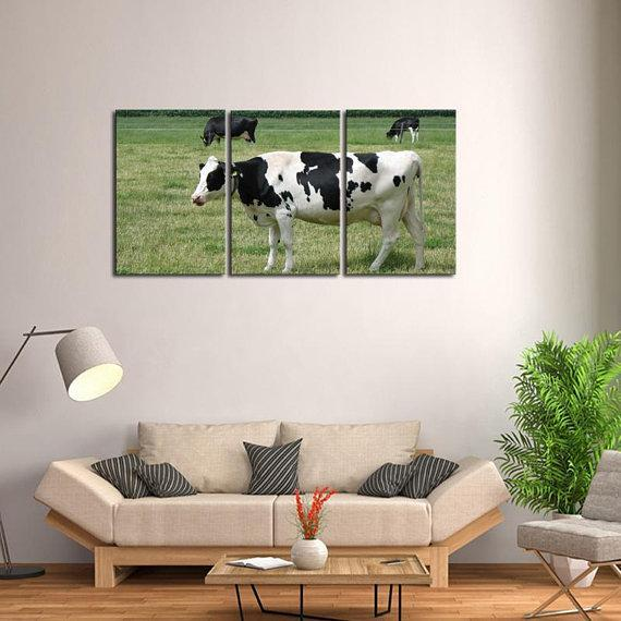 New Day Stock Store Canvas Paintings Medium / 3 Pieces / No Frame Dairy Cow Farmer Multi Piece Canvas Set