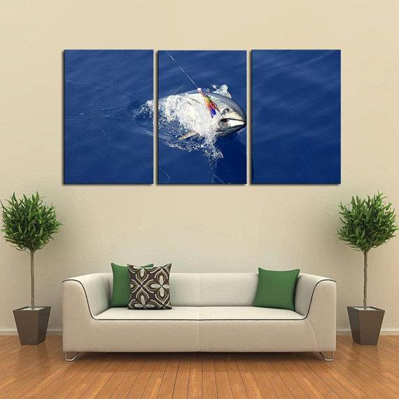 New Day Stock Store Canvas Paintings Medium / 3 Pieces / No Frame Deep Sea Tuna Fishing Multi Panel Canvas Set