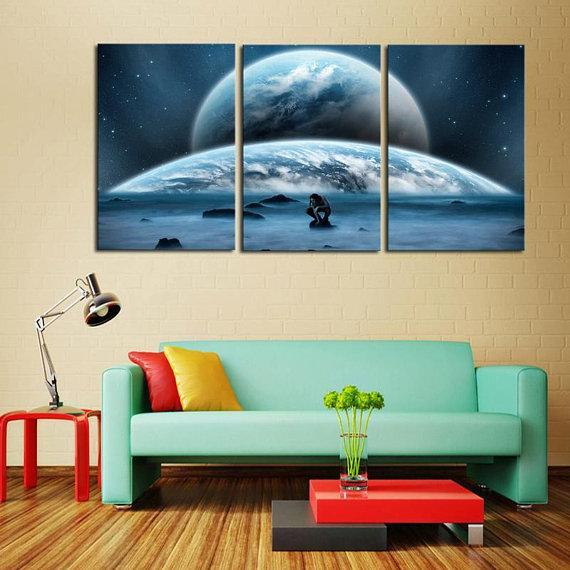 New Day Stock Store Canvas Paintings Medium / 3 Pieces / No Frame Earth Man Galaxy Multi Piece Canvas Set