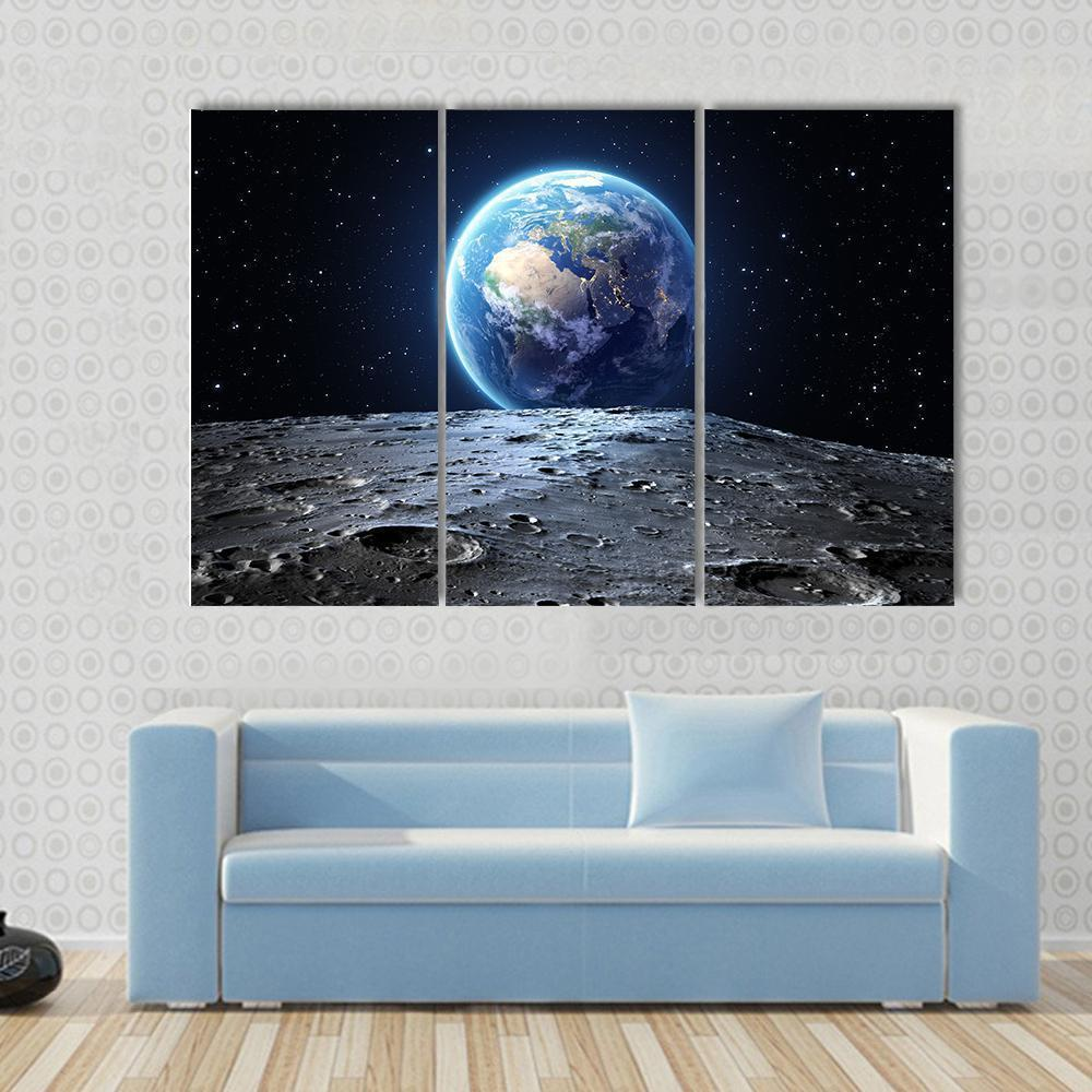 New Day Stock Store Canvas Paintings Medium / 3 Pieces / No Frame Earth View From Asteroid In Space Multi Panel Canvas Set