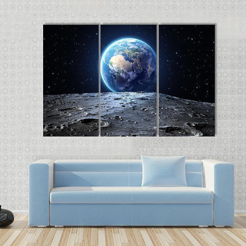 Image of New Day Stock Store Canvas Paintings Medium / 3 Pieces / No Frame Earth View From Asteroid In Space Multi Panel Canvas Set