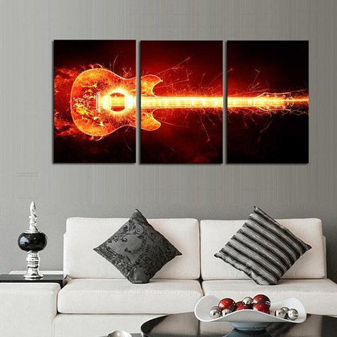 Image of New Day Stock Store Canvas Paintings Medium / 3 Pieces / No Frame Electrified Guitar Multi Piece Canvas Set