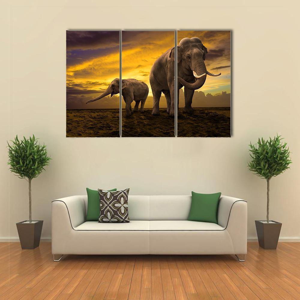 New Day Stock Store Canvas Paintings Medium / 3 Pieces / No Frame Elephants Family On Sunset Multi Piece Canvas Set