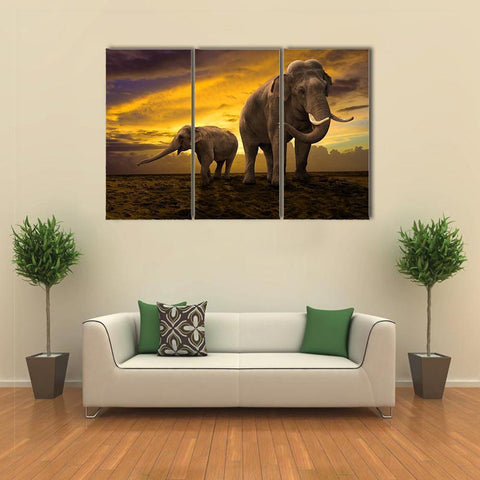 Image of New Day Stock Store Canvas Paintings Medium / 3 Pieces / No Frame Elephants Family On Sunset Multi Piece Canvas Set