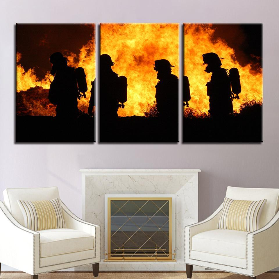 New Day Stock Store Canvas Paintings Medium / 3 Pieces / No Frame Firefighters in Action Multi Piece Canvas Set