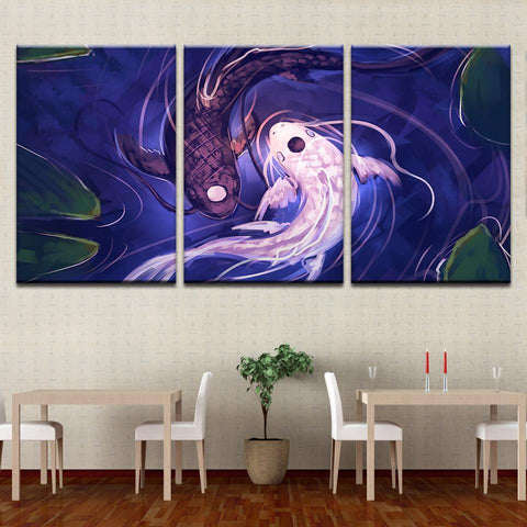 New Day Stock Store Canvas Paintings Medium / 3 Pieces / No Frame Fish Koi Yin Yang Multi Panel Canvas Set
