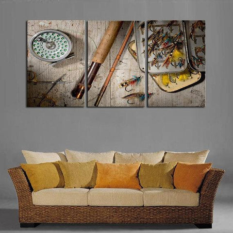 Image of New Day Stock Store Canvas Paintings Medium / 3 Pieces / No Frame Fly Fishing Multi Panel Canvas Set