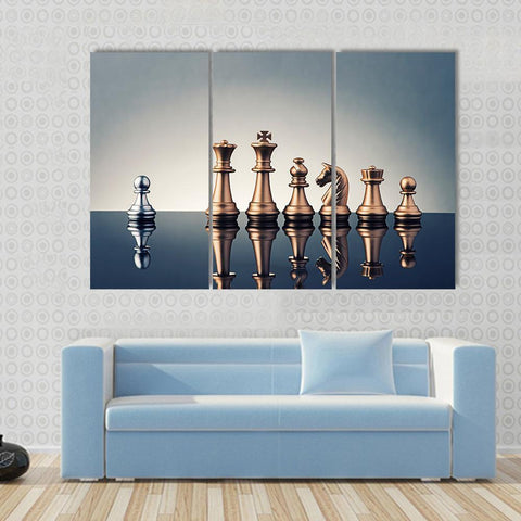 New Day Stock Store Canvas Paintings Medium / 3 Pieces / No Frame Leadership Concept Of Chess Multi Piece Canvas Set