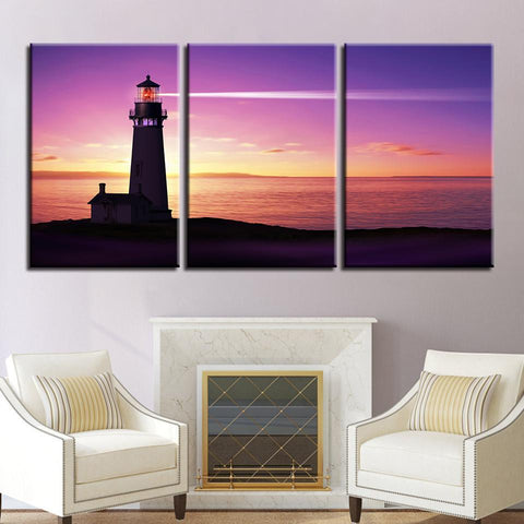 New Day Stock Store Canvas Paintings Medium / 3 Pieces / No Frame Lighthouse At Sunset Multi Piece Canvas Set