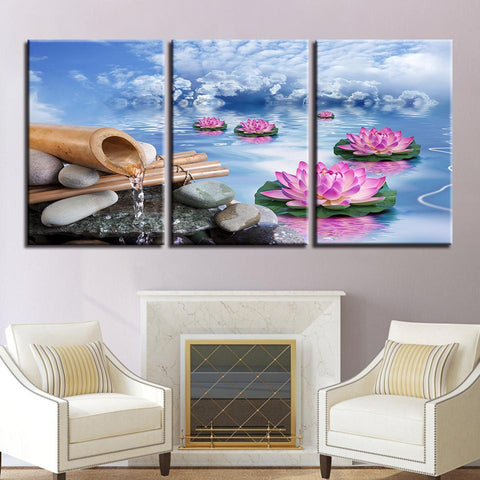 Image of New Day Stock Store Canvas Paintings Medium / 3 Pieces / No Frame Lotus Calmness Flower Multi Panel Canvas Set