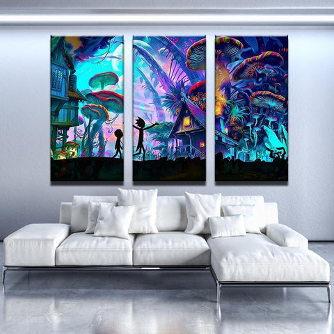 New Day Stock Store Canvas Paintings Medium / 3 Pieces / No Frame Mushroom World Rick and Morty Multi Piece Canvas Set